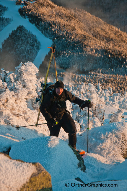 Back Country Skier Climbs Whiteface Mountain