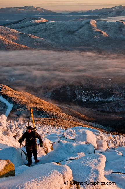 Skiier Climbs Whiteface Mountain