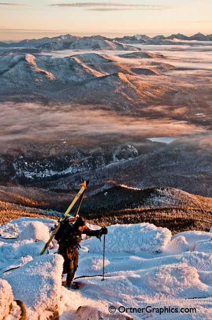 Backcountry Skier Ascends Whiteface Mountain
