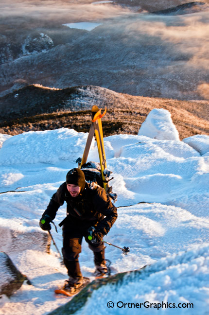 Back Country Skier Ascends Whiteface Mountain