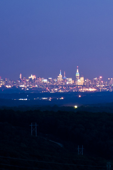 Midtown Manhattan and Rockland County at Night