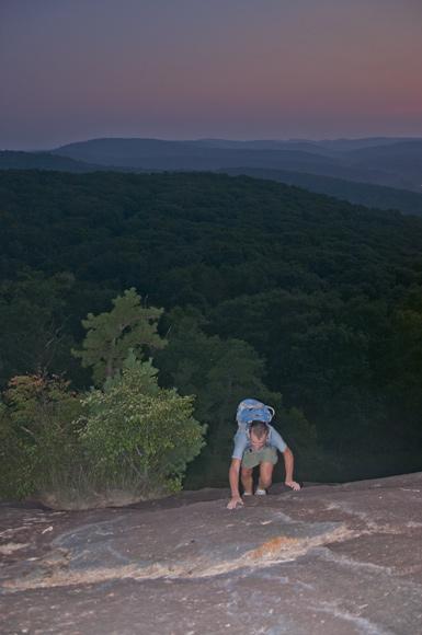 Mirek Ascends the Bear Mount Slab
