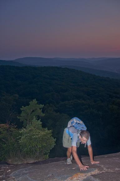 Mirek Begins the Bear Mountain Slab Ascent